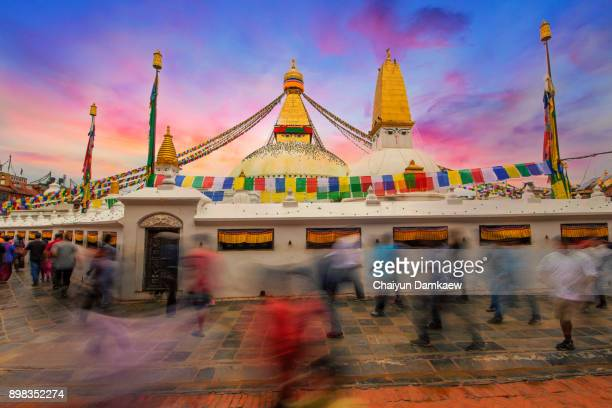 Landscape and People at Shree Boudhanath Stupa.