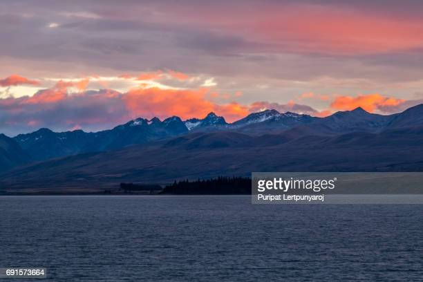 landscape around lake tekapo, new zealand - sport set competition round stock photos and pictures