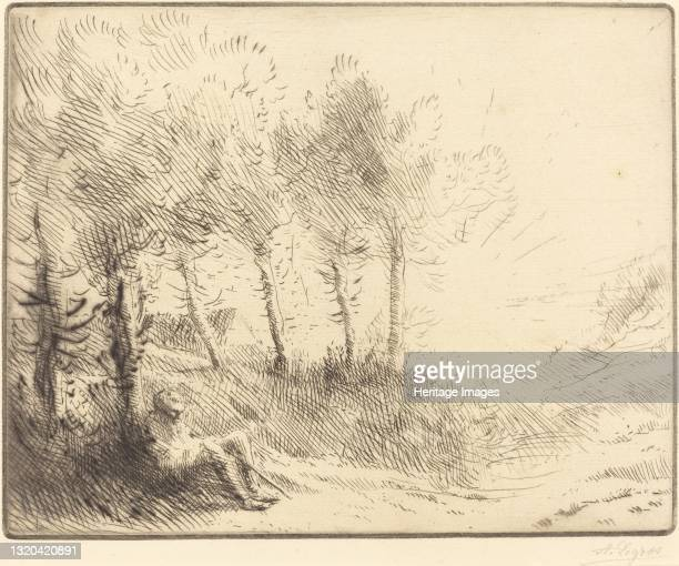 Landscape . Artist Alphonse Legros.
