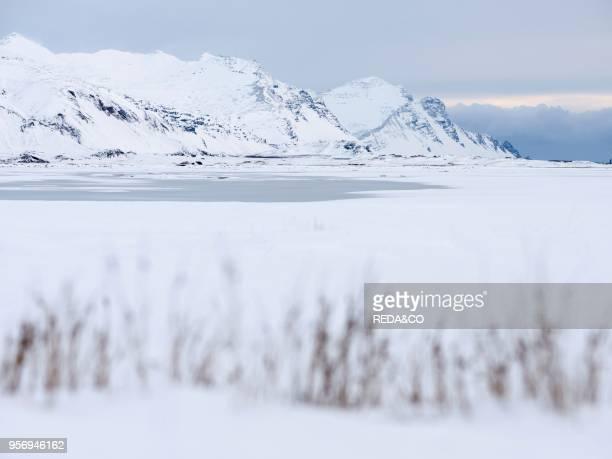 Landscape at the frozen river Hornafjardarfljot Europe northern Europe Iceland February
