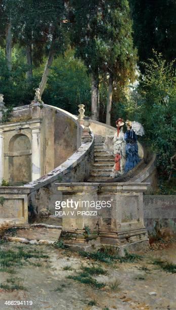 Landscape at Villa d'Este in Tivoli, painting by Onorato Carlandi .