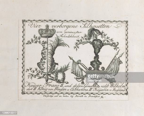 Landscape containing four silhouettes, Anonymous, German, 18th century, Francis II, Holy Roman Emperor , Holy Roman Empress Maria Theresa of Naples...