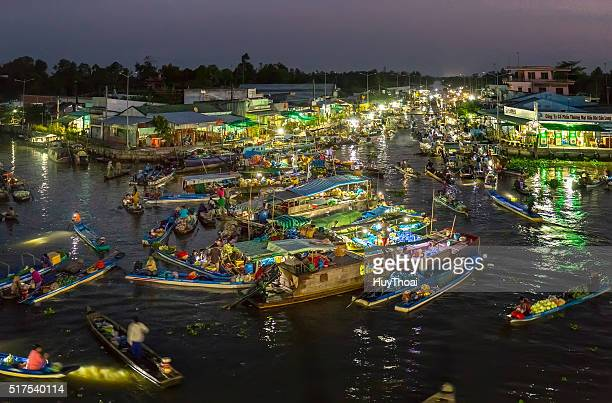 landscape dawn on the river floating market at night - can tho province stock pictures, royalty-free photos & images