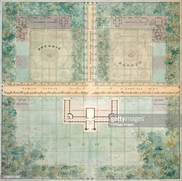 Landscape Design for University of Michigan, 1838. Artist Alexander Jackson Davis.