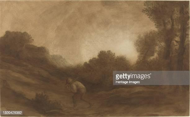 Landscape, Evening. Artist Alphonse Legros.