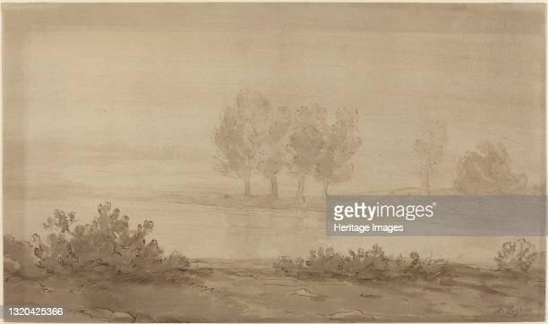 Landscape - Four Trees beyond a River. Artist Alphonse Legros.