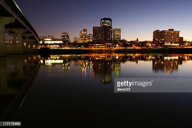 Landscape image of Midsize City skyline in the evening