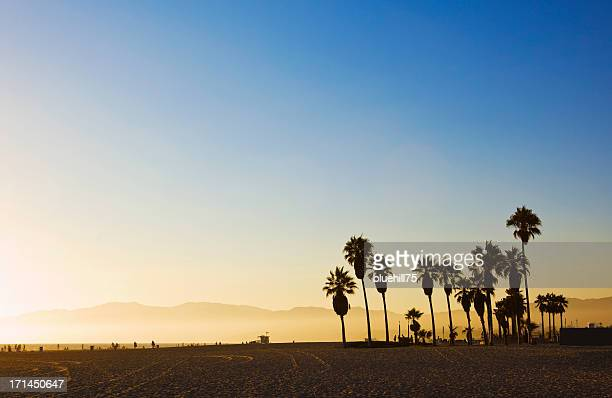 landscape image of venice beach, california at sunset  - california stockfoto's en -beelden