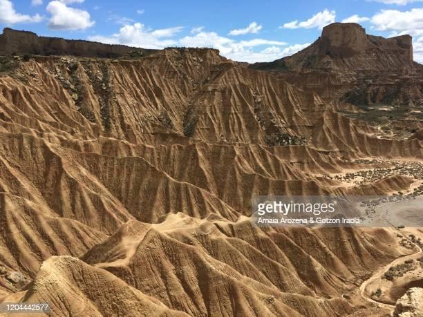 landscape in bardenas reales, navarre - pinnacle peak bildbanksfoton och bilder