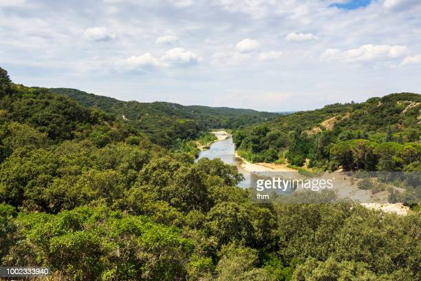 landscape in france, in the valley of the gardon river, southern france (gard) - gard stock photos and pictures