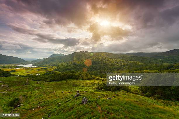 Landscape in Ireland along the Ring of Kerry, view from the Ladies View, Killarney National Park