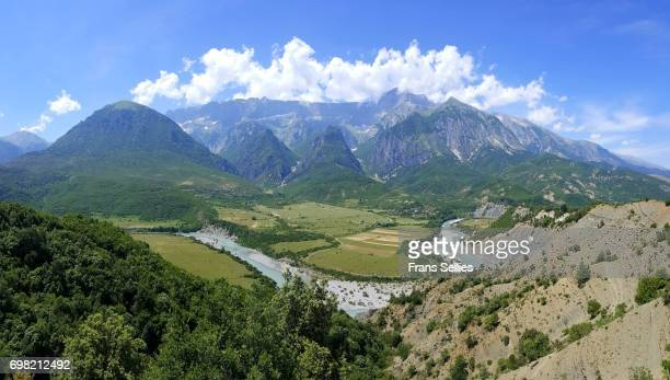 Landscape in Southern Albania with the Vjosa river valley