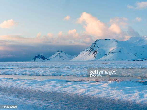 Landscape in the eastern fjords of Iceland between Hoefn and Djupivogur europe northern europe iceland february