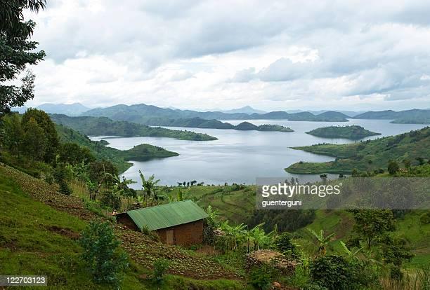 landscape in the lake region of rwanda - uganda stock pictures, royalty-free photos & images