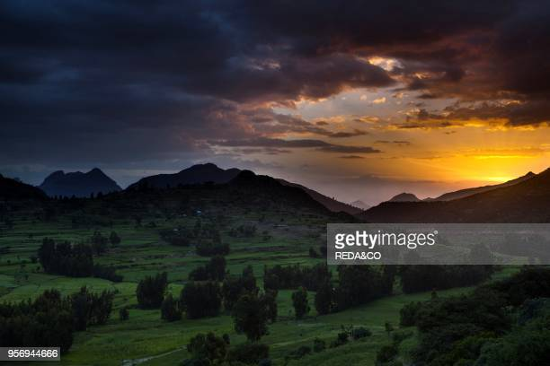 Landscape in the province Tigray northern Ethiopia the mountains of Adwa during sunset Adwa is famous as a historic battle site The battle of Adwa...