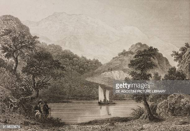 Landscape in the Trossachs Scotland United Kingdom engraving by Schroeder from Angleterre Ecosse et Irlande Volume IV by Leon Galibert and Clement...