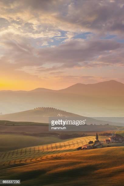 Landscape in Tuscany at sunrise
