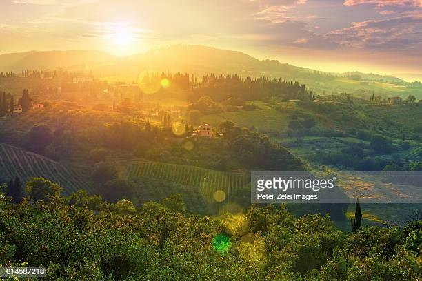 landscape in tuscany, italy at sunset - chianti region stock photos and pictures