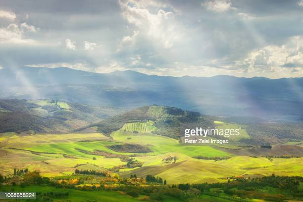 landscape  in tuscany, view from volterra, italy - volterra stock photos and pictures