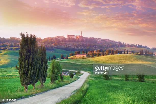 landscape in tuscany with the small town of pienza in the background - siena italy stock photos and pictures