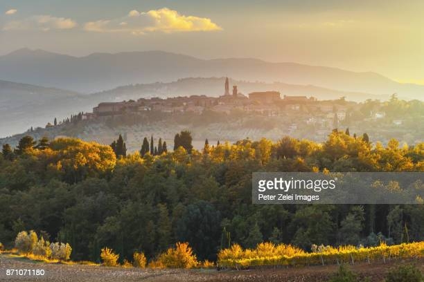 landscape in tuscany with the small town of pienza in the background - chianti region stock photos and pictures