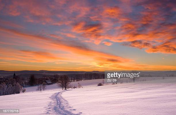 Landscape in winter with sunset, Ore mountains