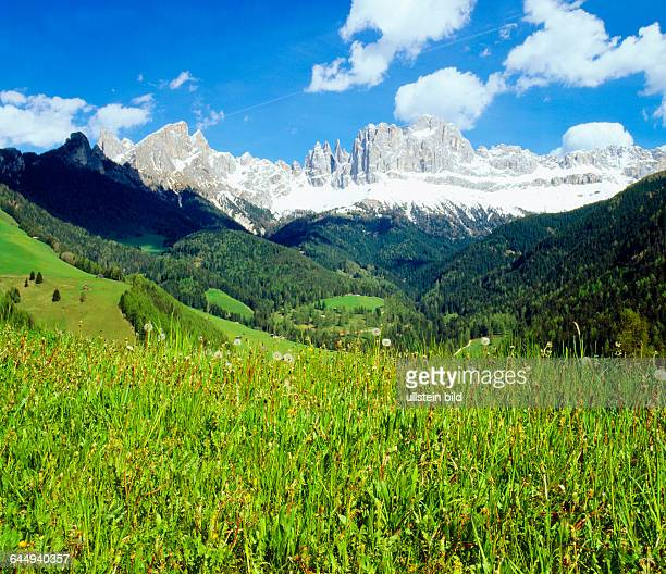 Landscape Italy Europe South Tyrol Dolomites sunset mountains rock Catinaccio