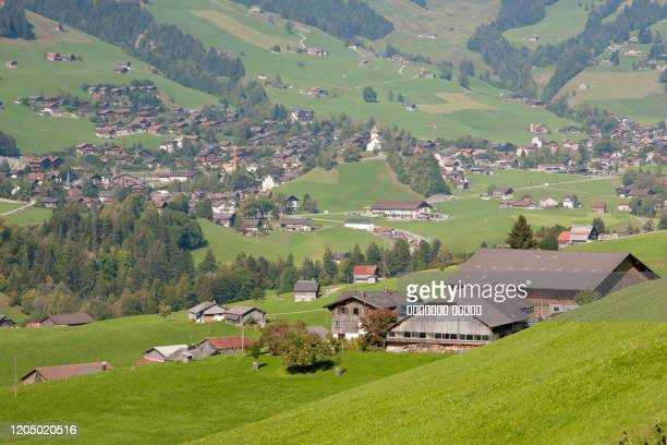 landscape near gstaad, summer view to saanen village - グスタード ストックフォトと画像