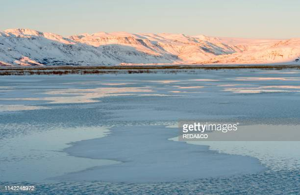 Landscape near Hoffell during winter in Hornafjoerdur area icecap of Vatnajoekull in the background europe northern europe iceland february