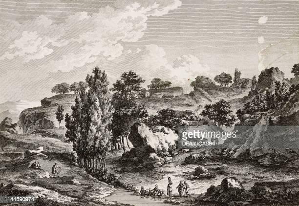 Landscape near Pietra Percia, around Piazza Armerina, Val di Noto, Sicily, Italy, engraving from Voyage pittoresque ou description des royaumes de...