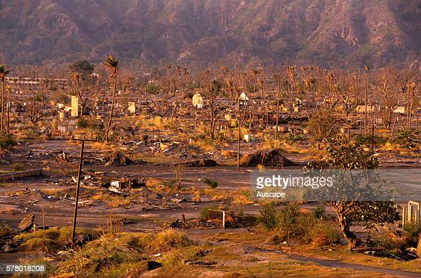 Landscape near Rabaul devastated by 1994 explosion of volcano Mount Tavurvur East New Britain Papua New Guinea