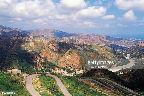 Landscape near Rometta Peloritans mountains Sicily Italy