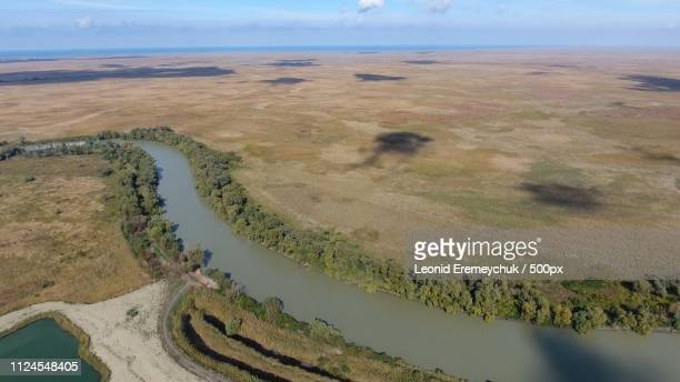 landscape near the sea of azov, the river, an artificial lake and open spaces for hunting and... - for stock pictures, royalty-free photos & images