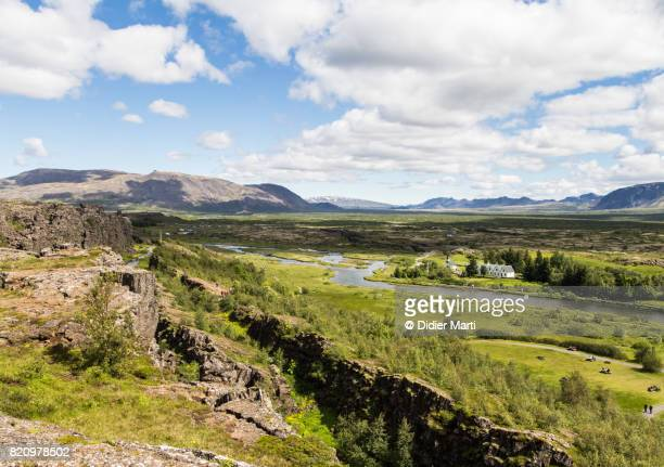 Landscape near the Thingvellir National Park in Iceland, famous for the rift valley resulting from tectonic plates motion.