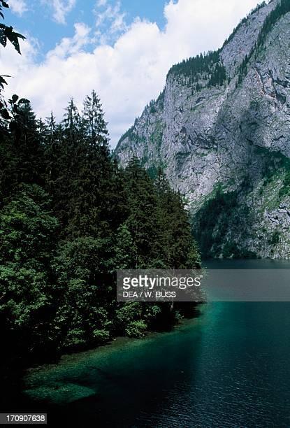 Landscape Obersee lake Berchtesgaden National Park Bavaria Germany