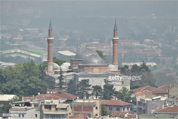 A landscape of a mosque is pictured in northwestern Bursa province of Turkey on May 1 2018 Turkey prepares to go to the polls for the early...