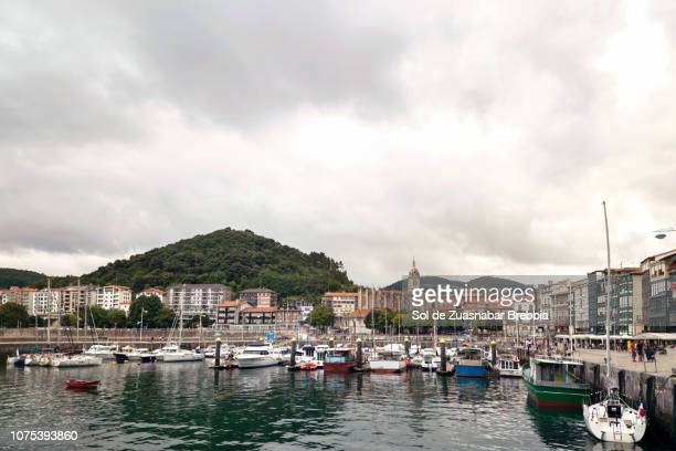 Landscape of a small sea port with the sea and boats and the city behind