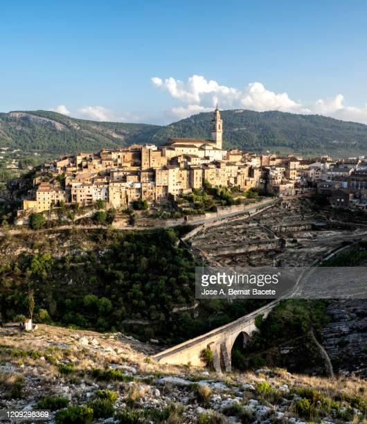 landscape of a small village of medieval architecture, town of bocairent. - valencia spain stock pictures, royalty-free photos & images