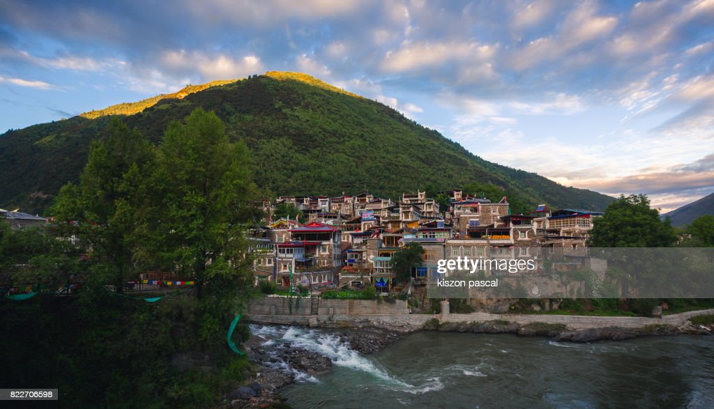 landscape of a tibetan part of Sichuan in China at dusk : Stock Photo