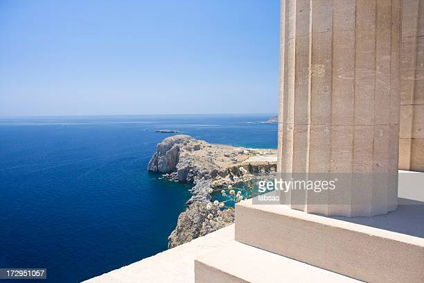landscape of acropolis in rhodes - lindos stock photos and pictures