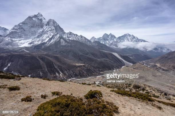 Landscape of Ama Dablam, Kangtega and Thamserku mountain peak, At Dingboche village