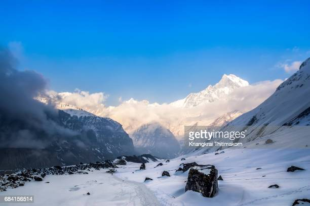 landscape of annapurna base camp, nepal. - annapurna south stock photos and pictures