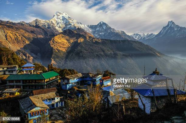 landscape of annapurna mountain - annapurna conservation area stock photos and pictures