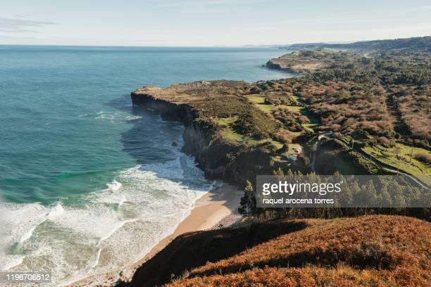 landscape of asturias coast - llanes fotografías e imágenes de stock