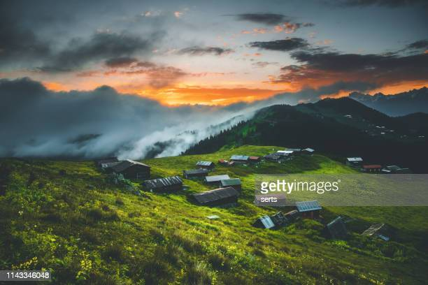 landscape of beautiful sunset view from the sal plateau in black sea and turkey - trabzon stock pictures, royalty-free photos & images