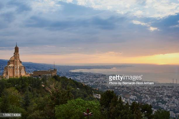 landscape of beirut from harissa - lebanon stock pictures, royalty-free photos & images