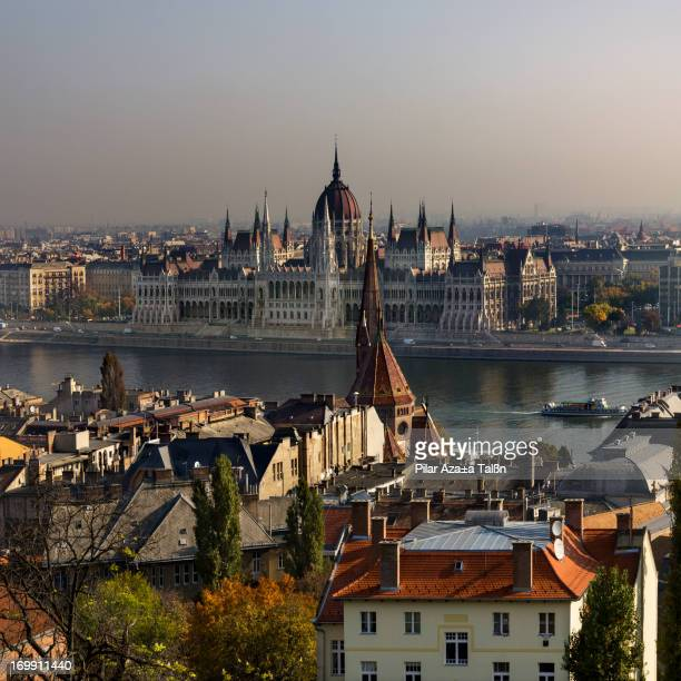 Landscape of Budapest city with the Danube river and Parlament