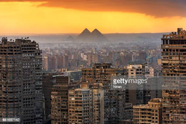 landscape of cairo - giza pyramids stock pictures, royalty-free photos & images