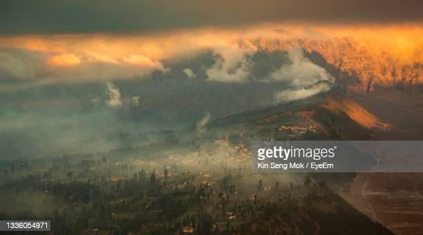 landscape of cemorolawang during sunset - forest fire stock pictures, royalty-free photos & images