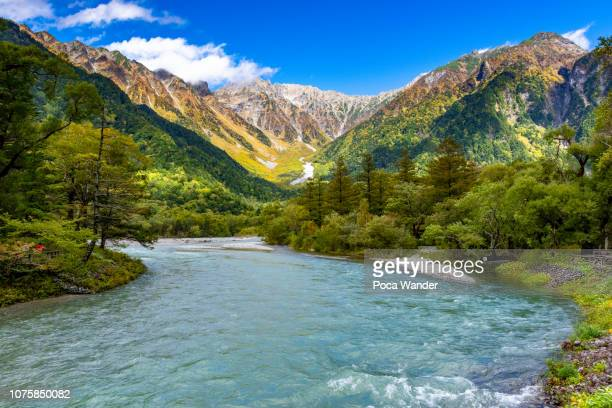 landscape of chubu sangaku national park, japan alps kamikochi - 長野県 ストックフォトと画像